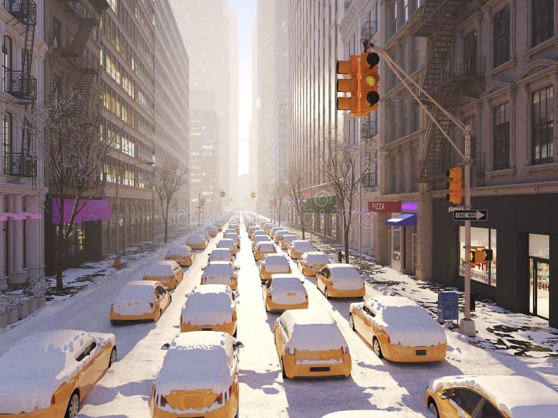 Χιονοθύελλα στην πόλη της Νέας Υόρκης τρισδιάστατη απόδοση ελεύθερη απεικόνιση δικαιώματος