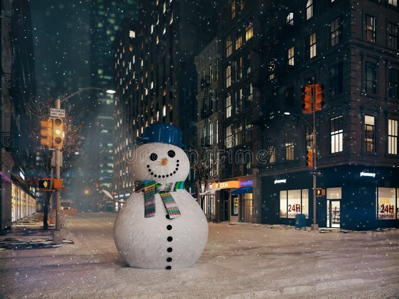 Χιονοθύελλα στην πόλη της Νέας Υόρκης χτίστε το χιονάνθρωπο τρισδιάστατη απόδοση διανυσματική απεικόνιση