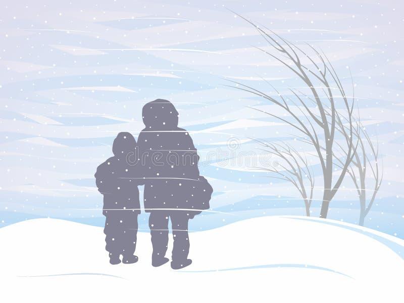 Χιονοθύελλα το χειμώνα διανυσματική απεικόνιση
