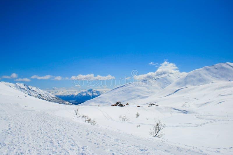 Χιονοπτώσεις στο πέρασμα Hatcher στοκ εικόνα