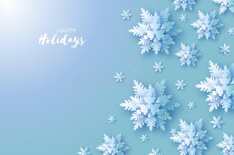 Χιονοπτώσεις Origami Κάρτα χαιρετισμών Χαρούμενα Χριστούγεννας Η Λευκή Βίβλος έκοψε τη νιφάδα χιονιού καλή χρονιά Χειμερινά snowf διανυσματική απεικόνιση