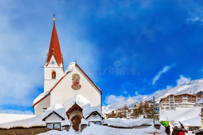 Χιονοδρομικό κέντρο Obergurgl Αυστρία βουνών στοκ εικόνες με δικαίωμα ελεύθερης χρήσης