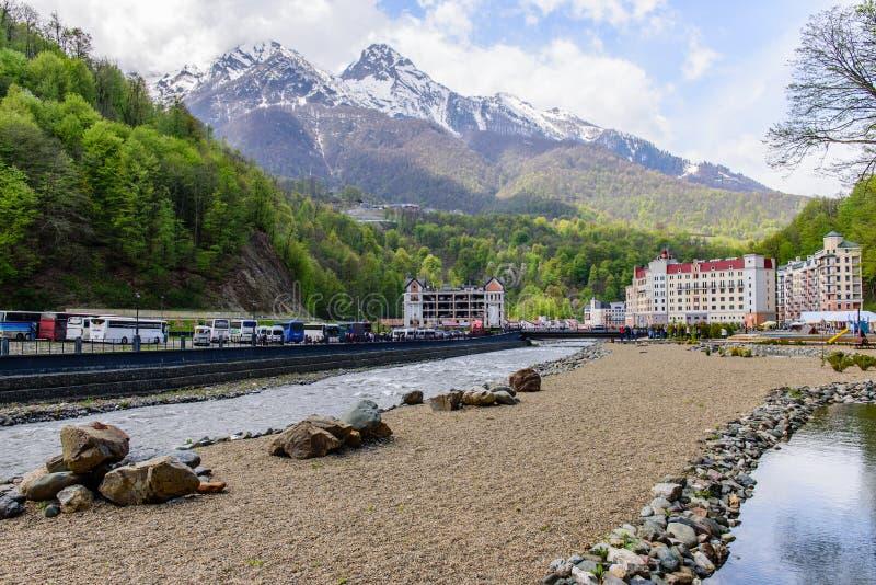 Χιονοδρομικό κέντρο Rosa Khutor στοκ εικόνες με δικαίωμα ελεύθερης χρήσης