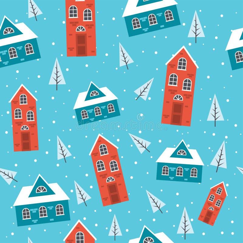 Χιονώδες άνευ ραφής σχέδιο σπιτιών διανυσματική απεικόνιση