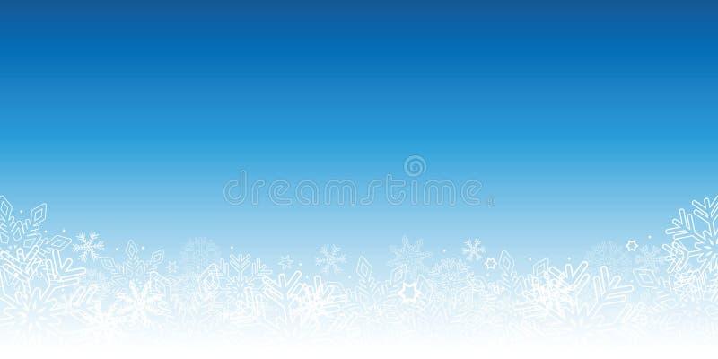 Χιονώδες μπλε χειμερινό υπόβαθρο με snowflakes απεικόνιση αποθεμάτων