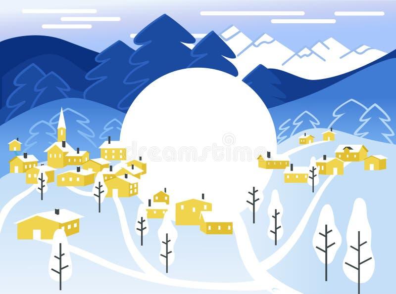 Χιονώδες τοπίο με τα μικρά σπίτια - νέο έτος και κάρτα Χριστουγέννων στο επίπεδο ύφος ελεύθερη απεικόνιση δικαιώματος