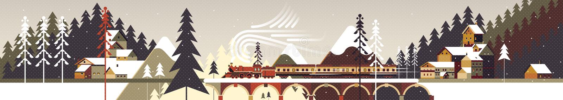 Χιονώδες χειμερινό τοπίο βουνών με το κωνοφόρα δάσος, τα πεύκα, τα εξοχικά σπίτια και το τραίνο διανυσματική απεικόνιση