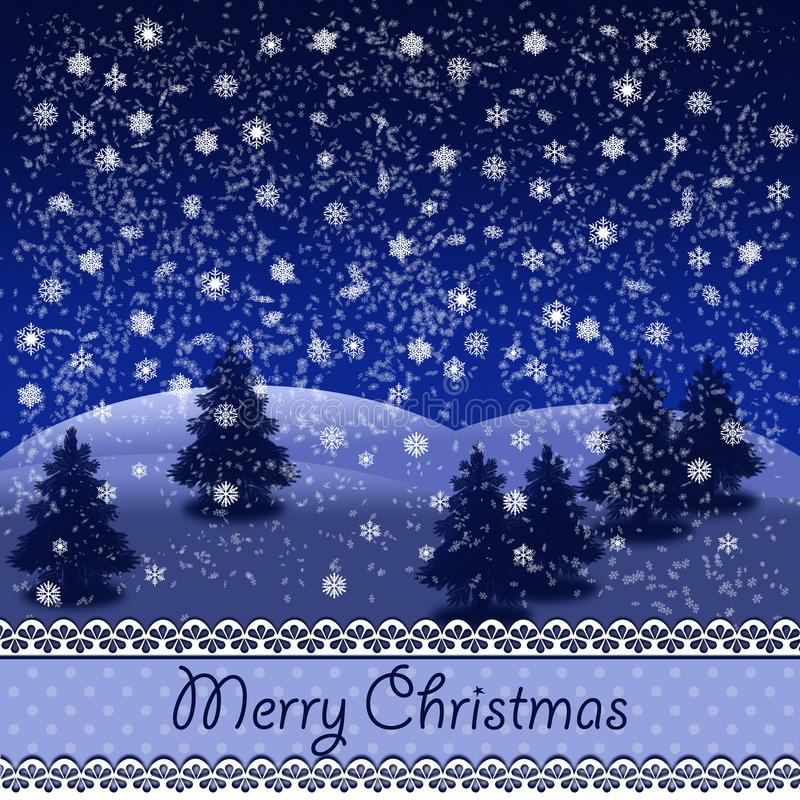 Χιονώδες χειμερινό τοπίο με τα δέντρα και τη Χαρούμενα Χριστούγεννα έλατου διανυσματική απεικόνιση