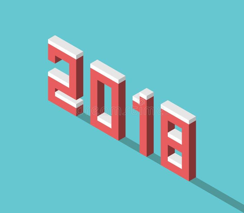 Χιονώδες isometric έτος του 2018 ελεύθερη απεικόνιση δικαιώματος