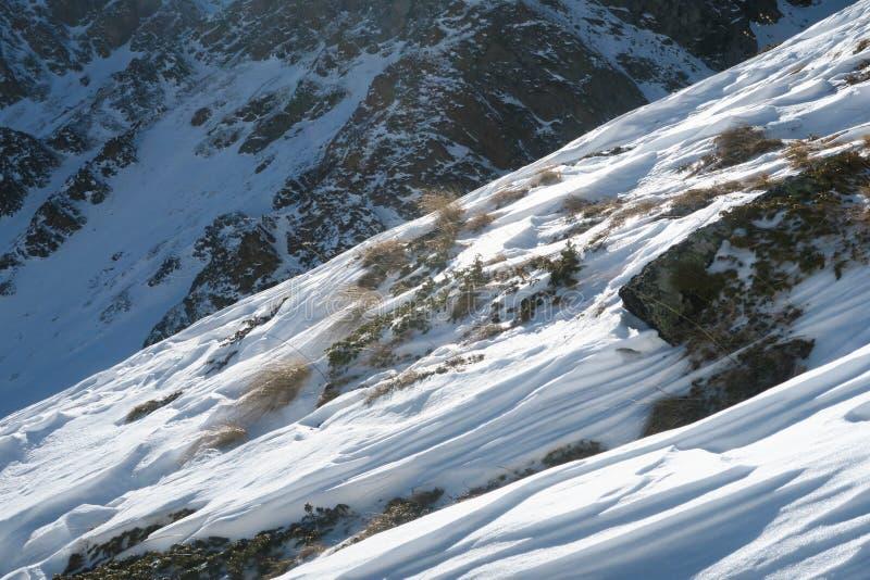 Χιονώδης βουνοπλαγιά μετά από τη χιονοστιβάδα Καυκάσια βουνά r στοκ εικόνες