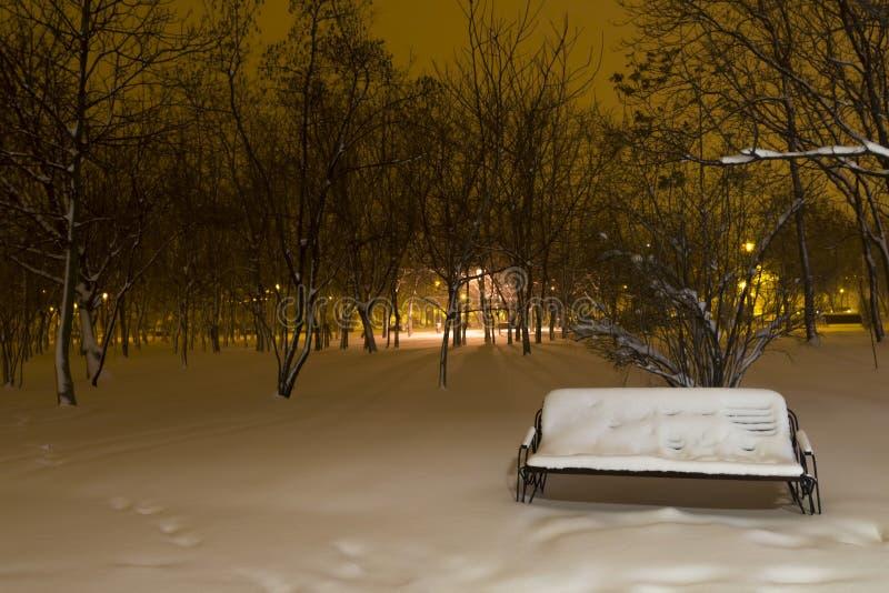 Χιονώδης πάγκος στο πάρκο