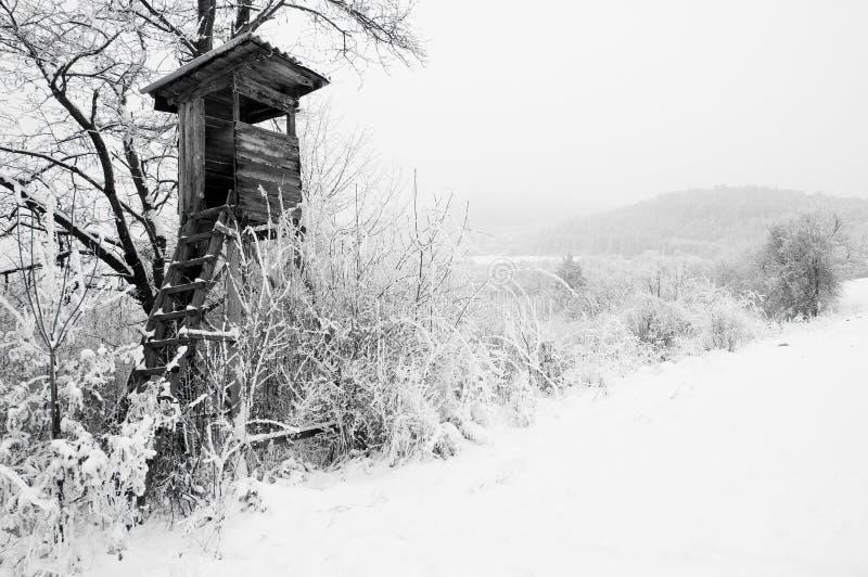 χιονώδης στάση κυνηγών χωρώ&n στοκ εικόνες με δικαίωμα ελεύθερης χρήσης