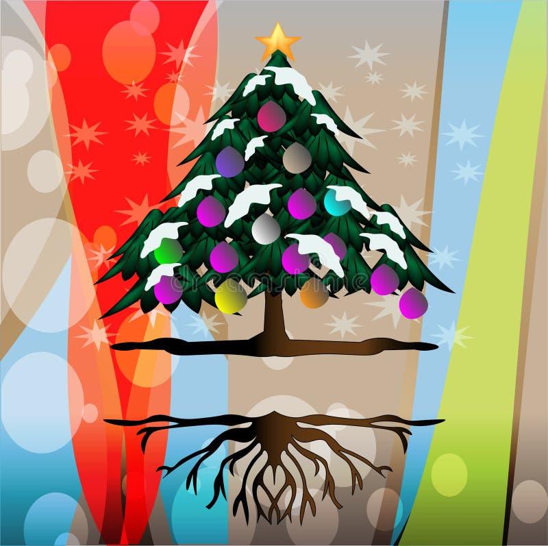 Χιονώδη χριστουγεννιάτικα δέντρα απεικόνιση αποθεμάτων