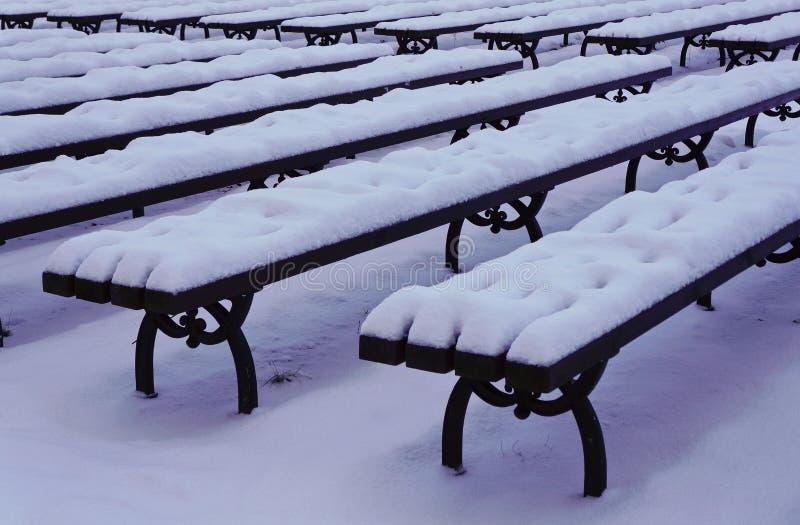 Χιονώδεις πάγκοι στο πάρκο πόλεων στοκ εικόνα