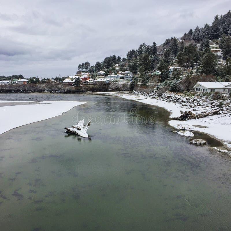 Χιονώδεις ποταμός και ωκεανός στοκ φωτογραφίες