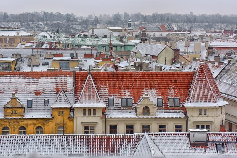 Χιονώδεις στέγες Prag στοκ εικόνα