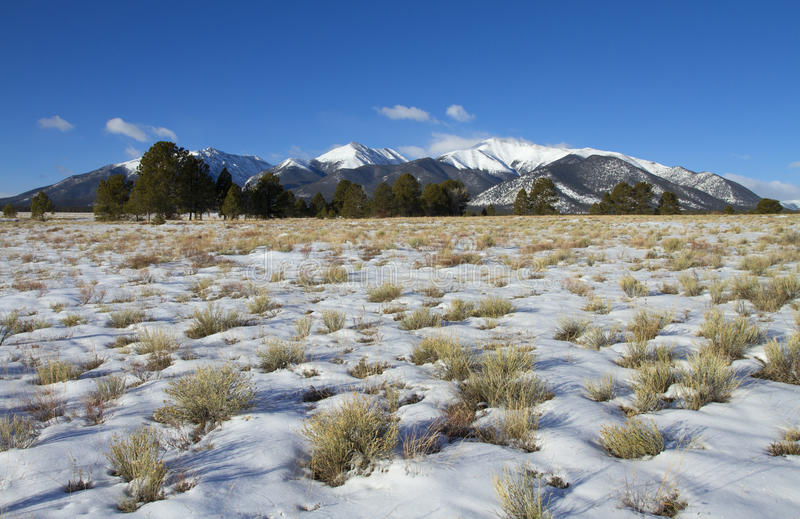 Χιονώδες λιβάδι με το υπόβαθρο βουνών στοκ φωτογραφίες