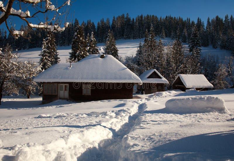 Χιονώδες παλαιό ξύλινο σπίτι στο χειμερινό δασικό χωριό στοκ εικόνες