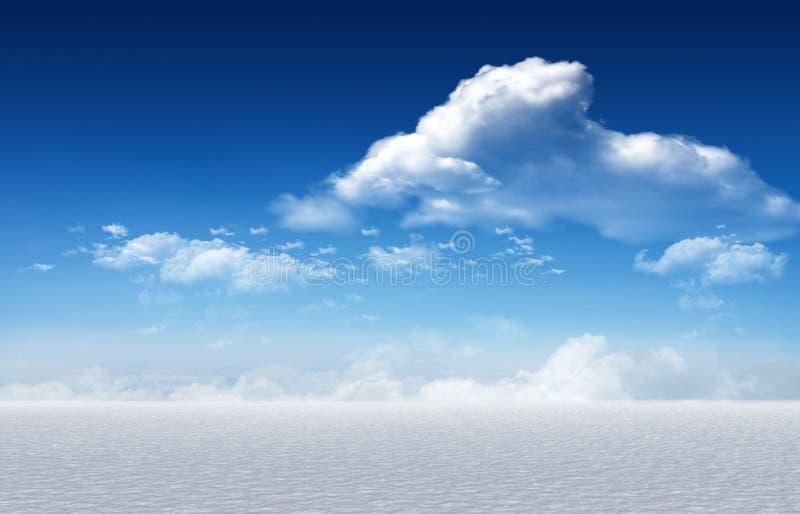 Χιονώδες τοπίο κάτω από το μπλε ουρανό διανυσματική απεικόνιση