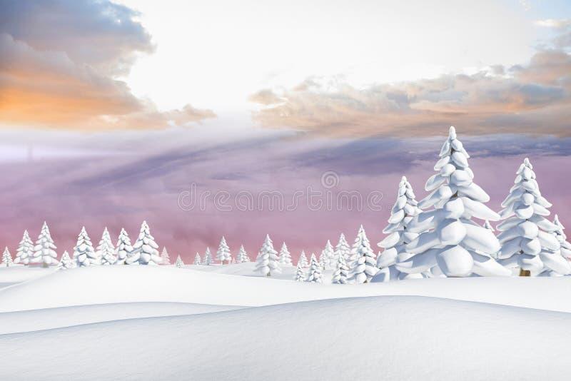 Χιονώδες τοπίο με τα δέντρα έλατου απεικόνιση αποθεμάτων