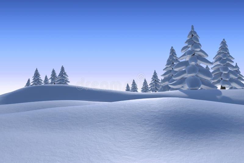 Χιονώδες τοπίο με τα δέντρα έλατου διανυσματική απεικόνιση