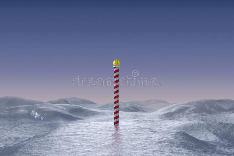 Χιονώδες τοπίο με τον πόλο διανυσματική απεικόνιση