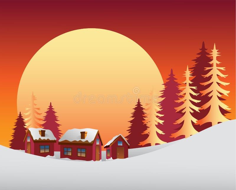 Χιονώδης σκηνή με την ανατολή διανυσματική απεικόνιση