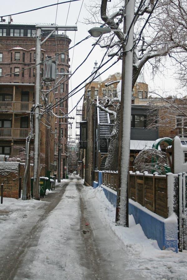 Χιονώδης στο δρόμο στη γειτονιά του Σικάγου στοκ εικόνες