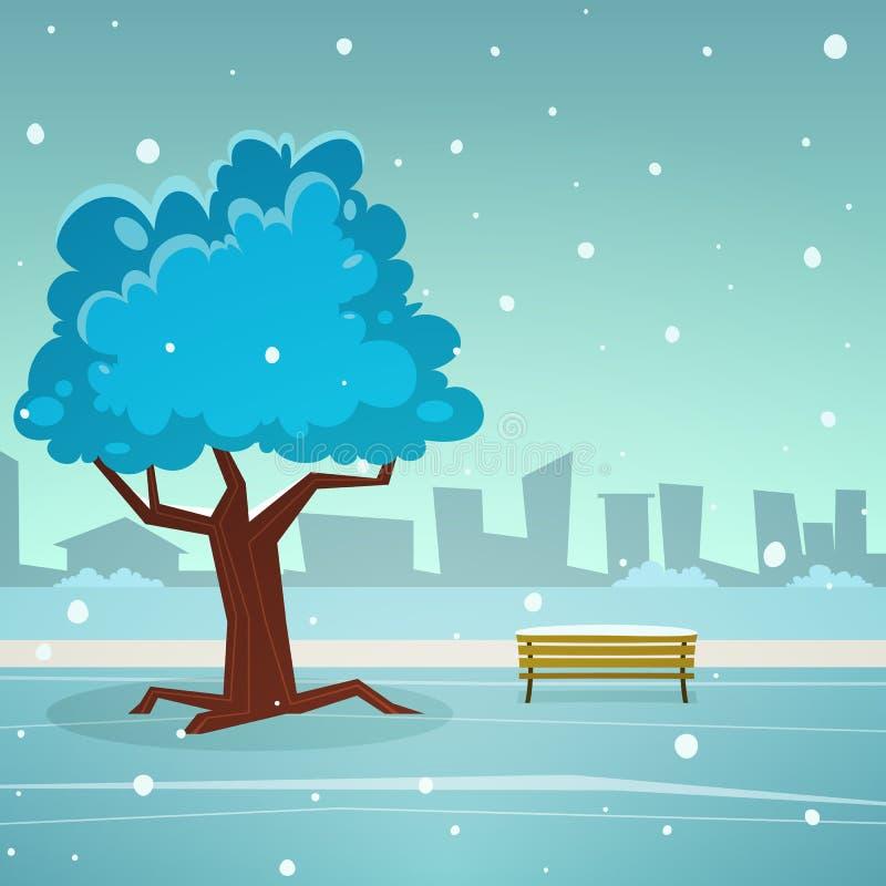 χιονώδης χειμώνας δέντρων πάρκων φύσης Ιανουαρίου παγετού ημέρας ελεύθερη απεικόνιση δικαιώματος