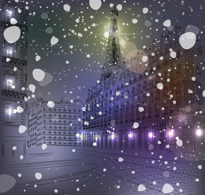 Χιονώδη Χριστούγεννα Παρίσι νύχτας απεικόνιση αποθεμάτων