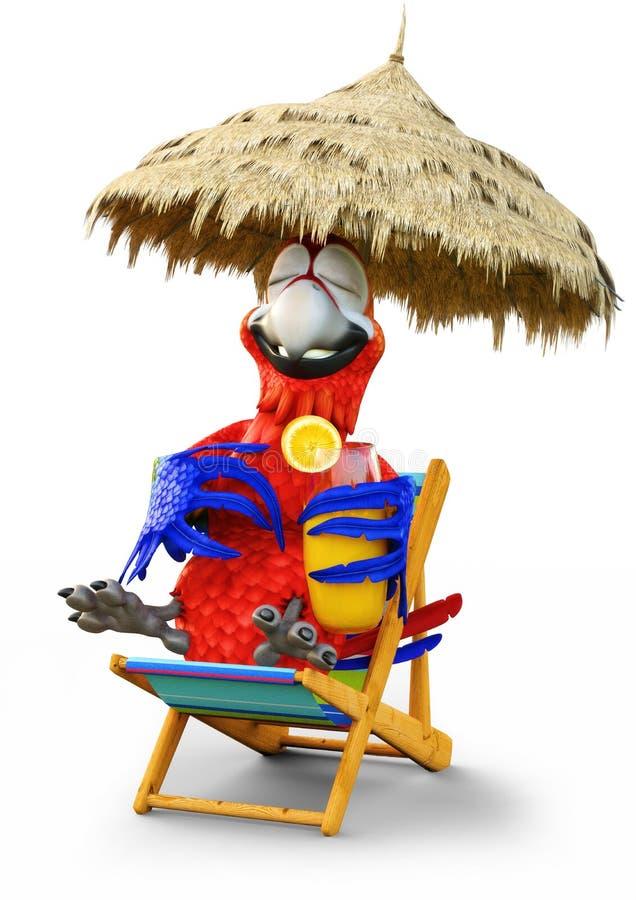 Χιουμοριστική χαλάρωση παπαγάλων με ένα ποτό σε ένα απομονωμένο λευκό υπόβαθρο Διακοπές, ταξίδι, χαλαρώνοντας έννοια διανυσματική απεικόνιση