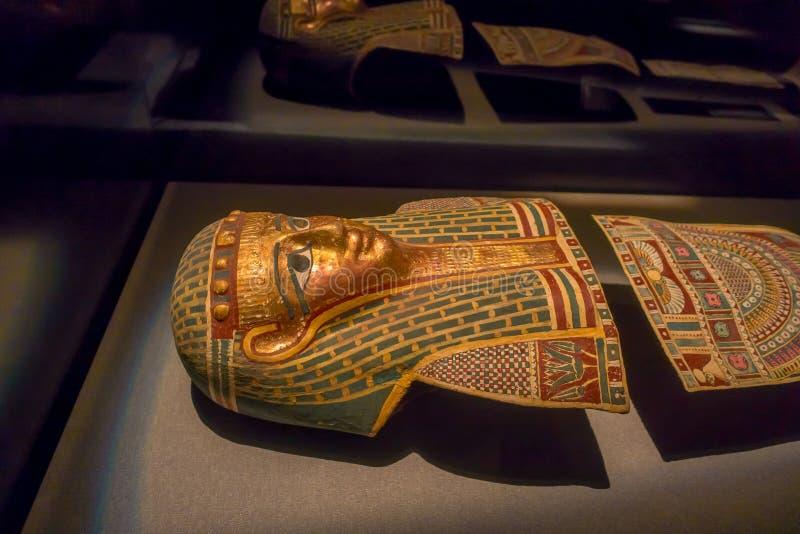 ΧΙΟΥΣΤΟΝ, ΗΠΑ - 12 ΙΑΝΟΥΑΡΊΟΥ 2017: Κλείστε επάνω μιας δομής της αρχαίας Αιγύπτου στο Εθνικό Μουσείο της φυσικής επιστήμης στοκ εικόνες