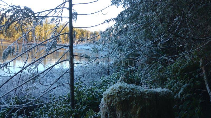 Χιόνι και λίμνη στοκ φωτογραφίες