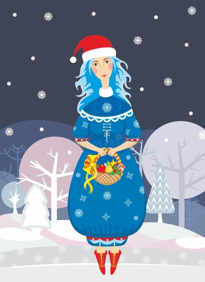 χιόνι κοριτσιών διανυσματική απεικόνιση