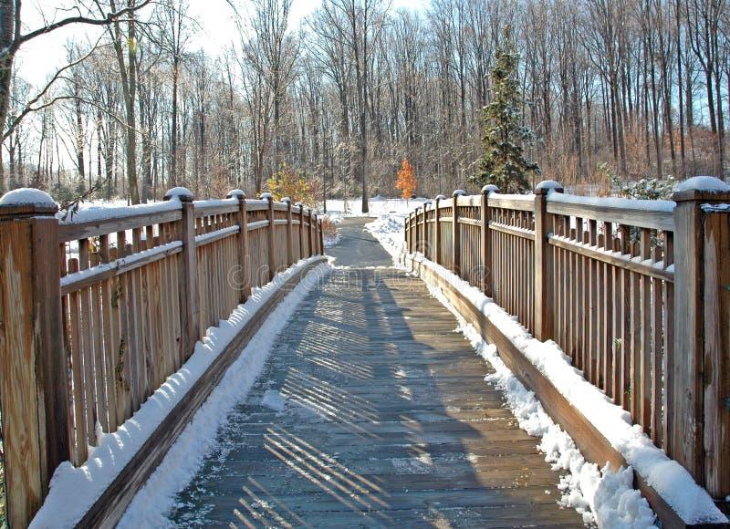 χιόνι ποδιών γεφυρών ξύλινο στοκ φωτογραφία με δικαίωμα ελεύθερης χρήσης
