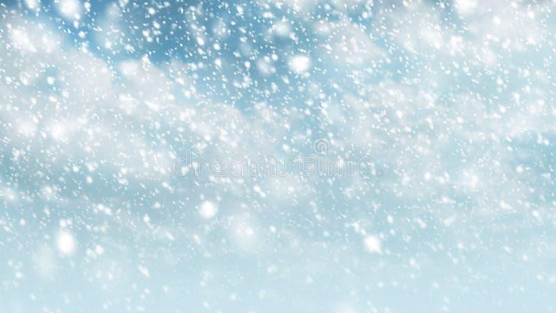 Χιόνι που αφορά τον ουρανό με το σύννεφο για τη χειμερινή εποχή και το υπόβαθρο Χριστουγέννων στοκ εικόνες με δικαίωμα ελεύθερης χρήσης