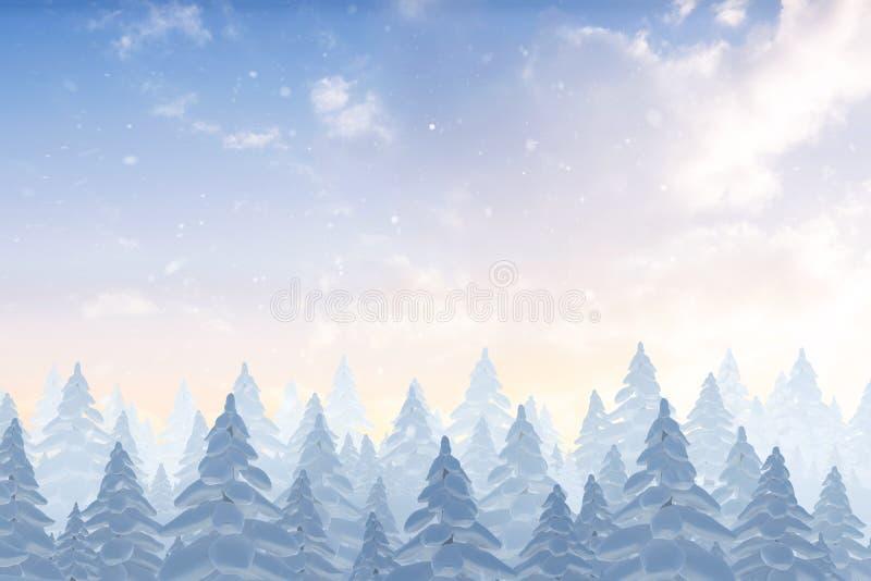 Χιόνι που αφορά το δάσος δέντρων έλατου απεικόνιση αποθεμάτων