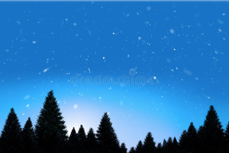Χιόνι που αφορά το δάσος δέντρων έλατου ελεύθερη απεικόνιση δικαιώματος