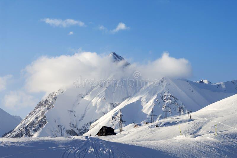 Χιόνι που κάνει σκι piste στοκ εικόνες