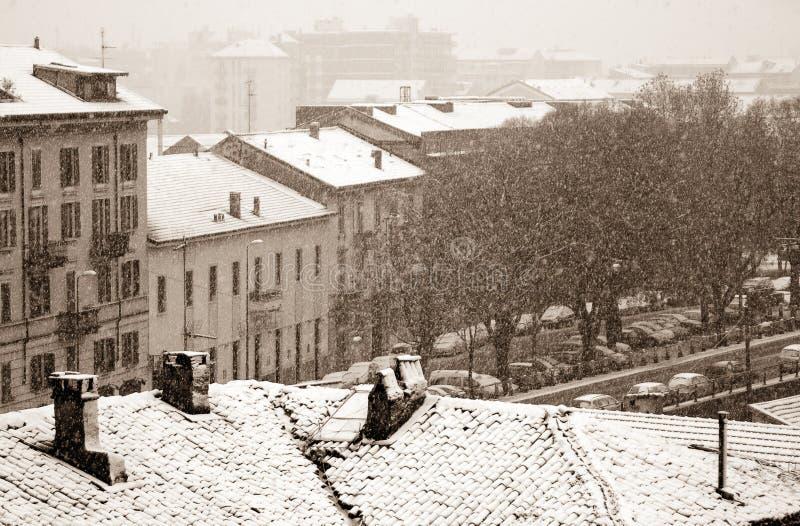 χιόνι πόλεων στοκ εικόνα με δικαίωμα ελεύθερης χρήσης