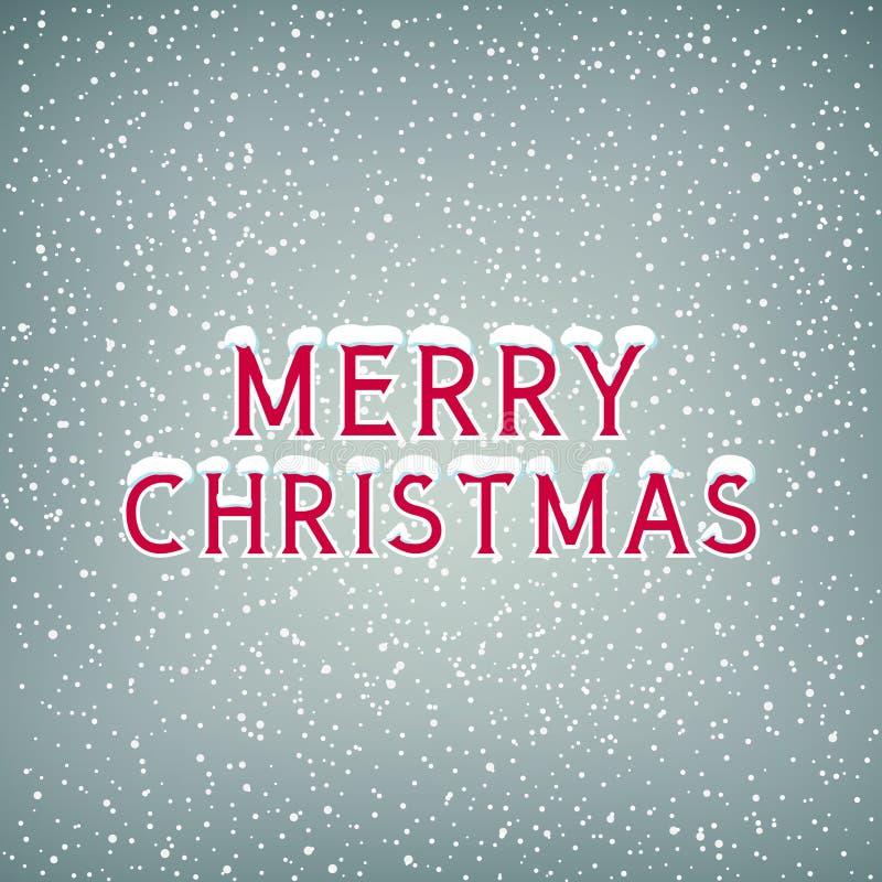 Χιόνι στη Χαρούμενα Χριστούγεννα επιστολών διανυσματική απεικόνιση