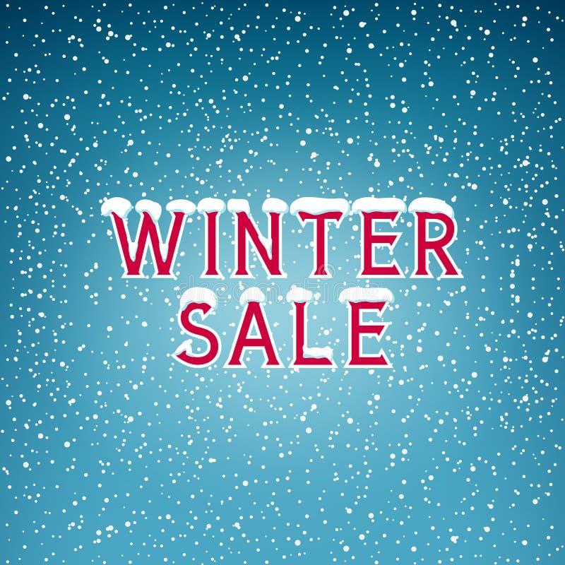 Χιόνι στη χειμερινή πώληση επιστολών διανυσματική απεικόνιση