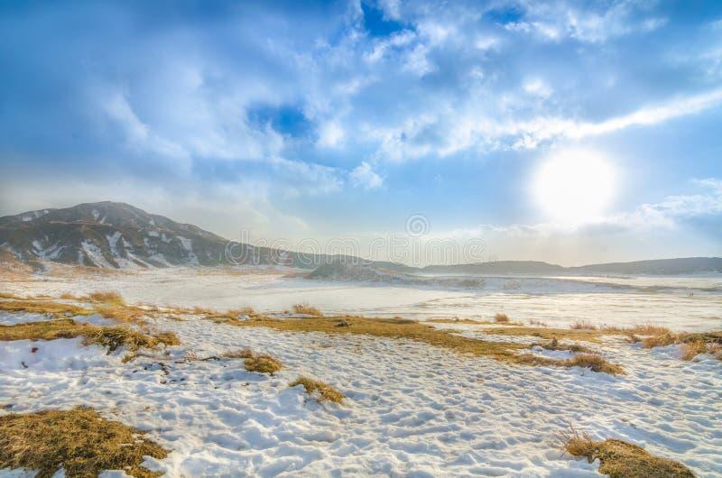 Χιόνι στο βουνό Aso στοκ φωτογραφίες