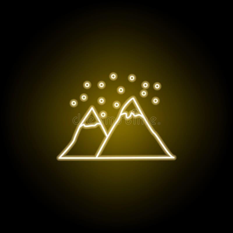 χιόνι στο εικονίδιο βουνών στο ύφος νέου Στοιχείο της απεικόνισης ταξιδιού Τα σημάδια και τα σύμβολα μπορούν να χρησιμοποιηθούν γ διανυσματική απεικόνιση