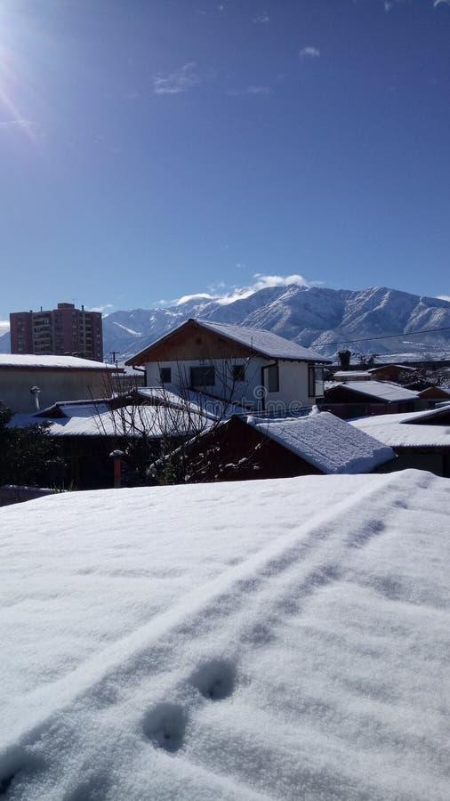 Χιόνι στο Λα Foresta, Puente Alto βιλών στοκ φωτογραφία με δικαίωμα ελεύθερης χρήσης