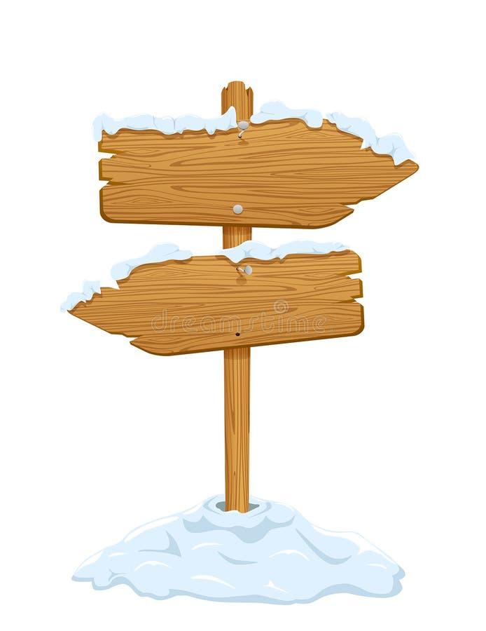 Χιόνι στο ξύλινο σημάδι ελεύθερη απεικόνιση δικαιώματος