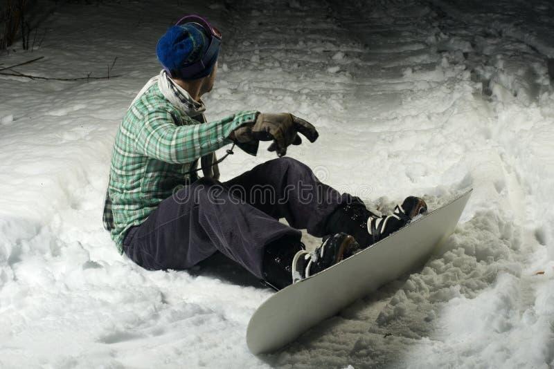 χιόνι συνεδρίασης snowboarder στοκ εικόνες