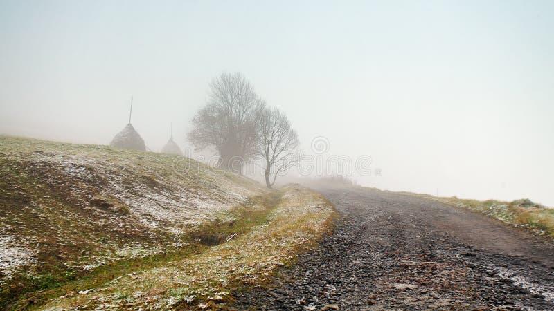 Χιόνι του πρώτου φθινοπώρου στο misty δρόμο βουνών στοκ φωτογραφίες με δικαίωμα ελεύθερης χρήσης