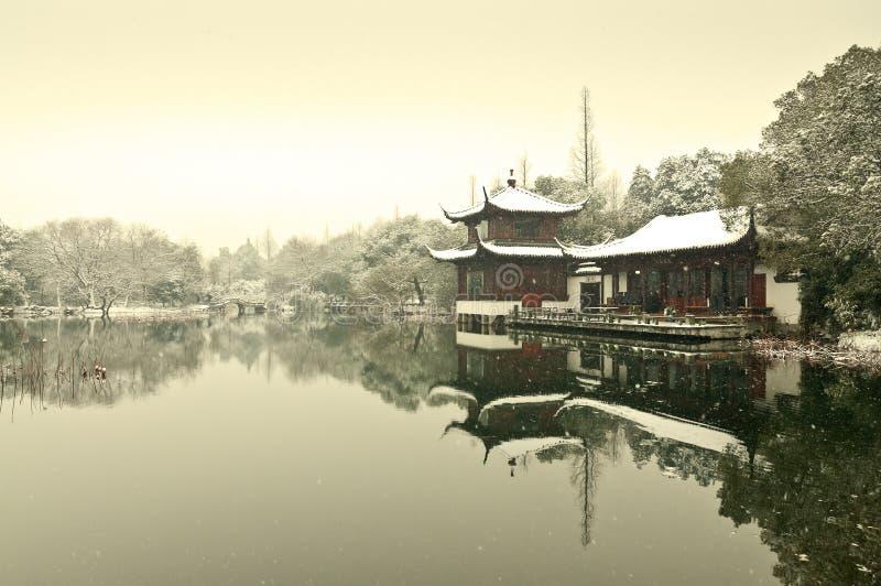 Χιόνι δυτικών λιμνών Hangzhou στοκ εικόνα με δικαίωμα ελεύθερης χρήσης