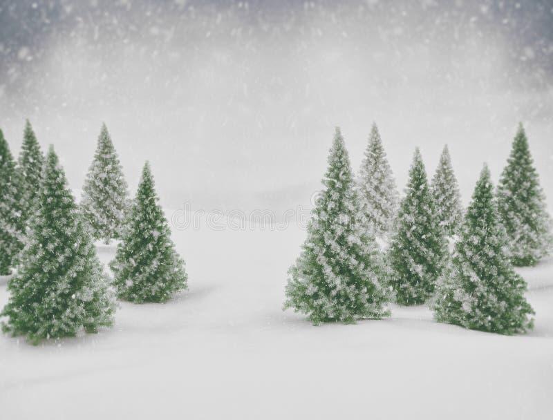 Χιόνι χειμερινής σκηνής και πράσινα δέντρα πεύκων στοκ εικόνα